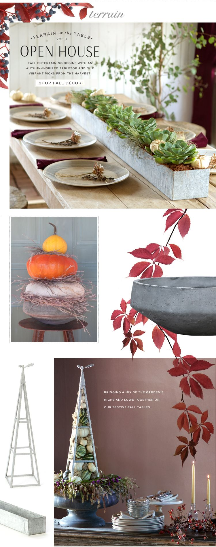 Terrain at the Table, Open House: Fall entertaining begins with an autumn-inspired tabletop and our vibrant picks from the harvest.