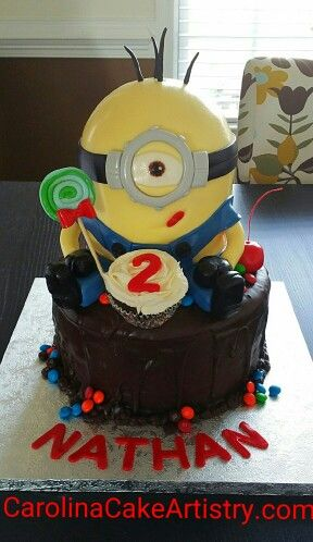 Awesome Minion candy inspired birthday cake! It's all edible too!
