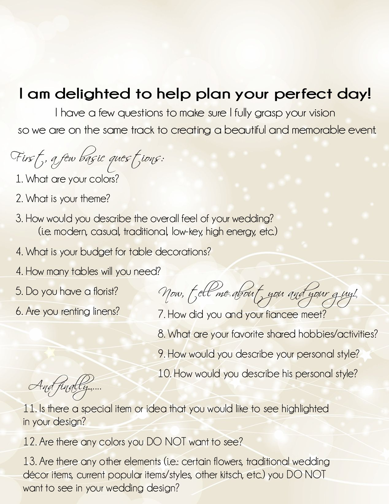 Wedding planner questionnaire miss to mrs pinterest wedding wedding planner questionnaire junglespirit Images