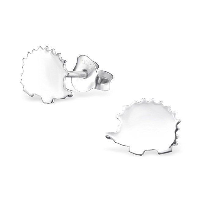 hypoallergenic silver hedgehog stud earrings for nickel