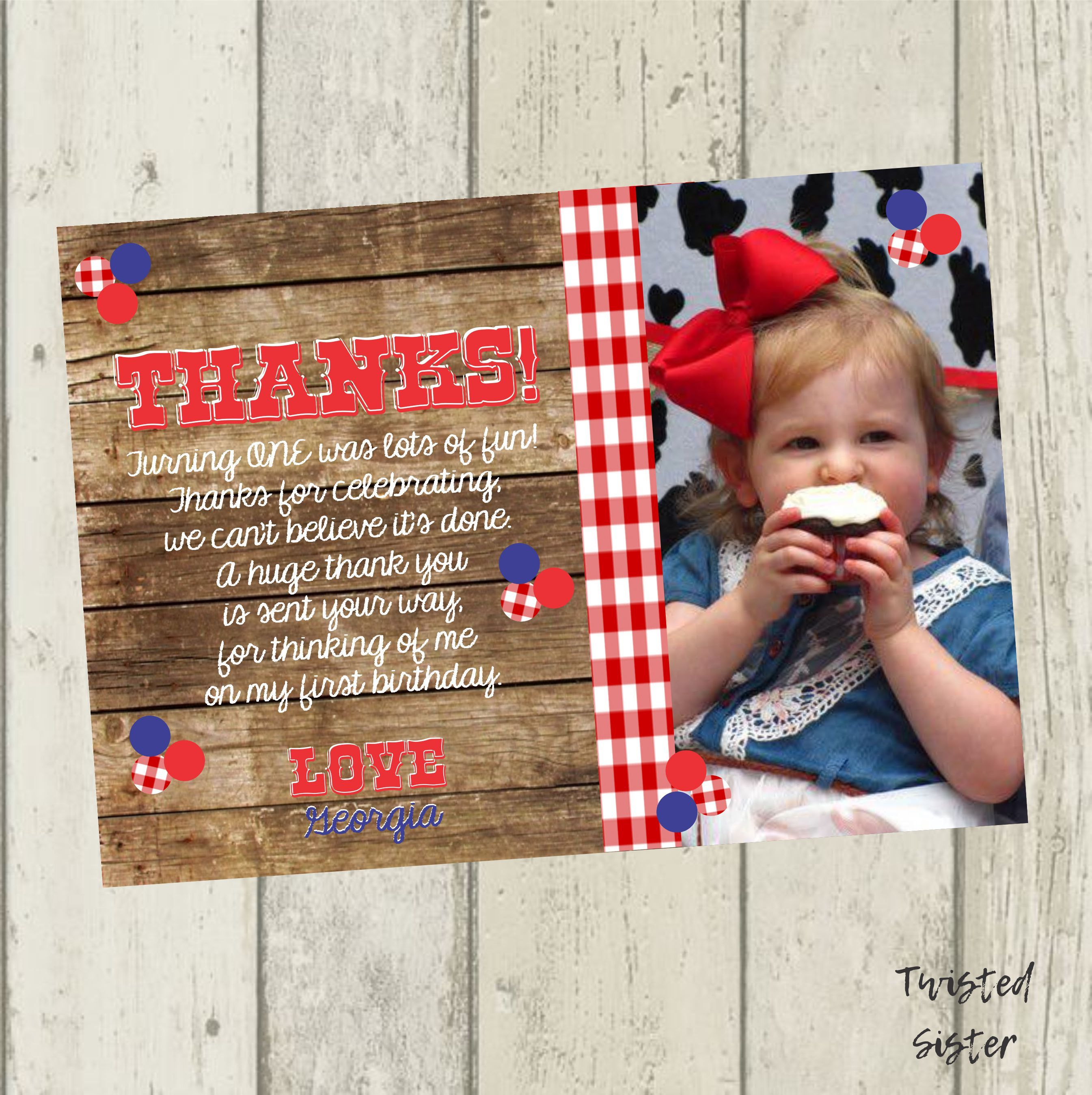 Cute Cowboy Personalized Birthday Party Thank You Cards