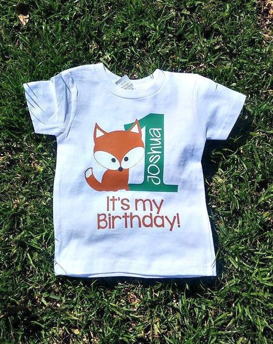 First Birthday Tshirt Shirt For One Babys Fox Woodland Toddler Happy Its My Party
