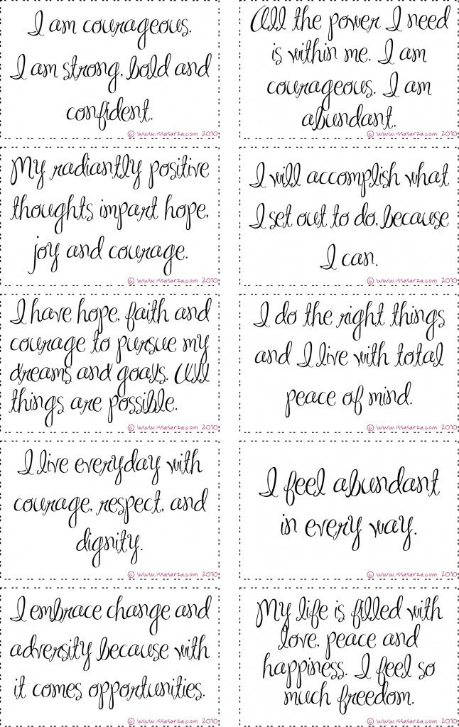 photo regarding Affirmation Cards Printable called absolutely free printable braveness confirmation playing cards Get the job done (Womens