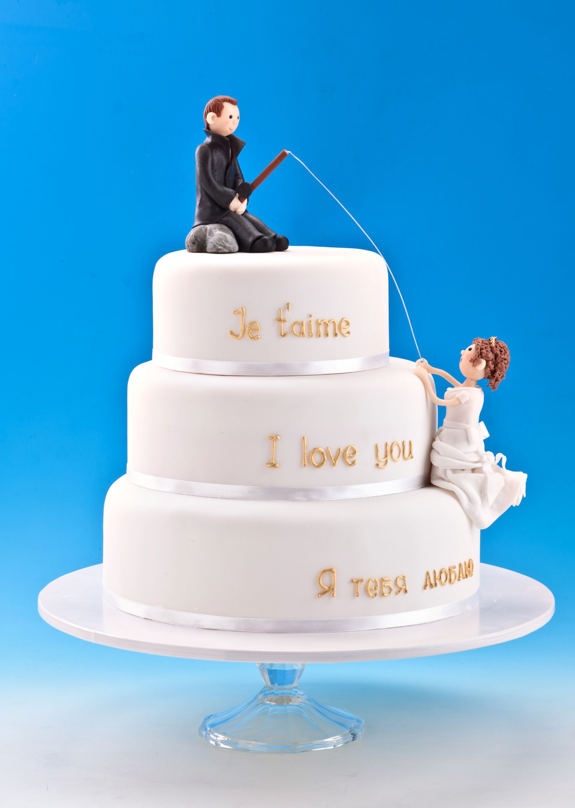 How Cute Is This Fishing Themed Wedding Cake