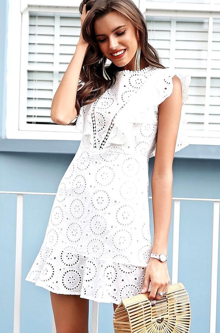 Click Buy Casual White Lace Mini Everyday Ruffle Summer Dress Cotton Bohemian Party Boho Summer Cotton Dress Summer Ruffle Summer Dress Casual White Lace [ 1124 x 744 Pixel ]
