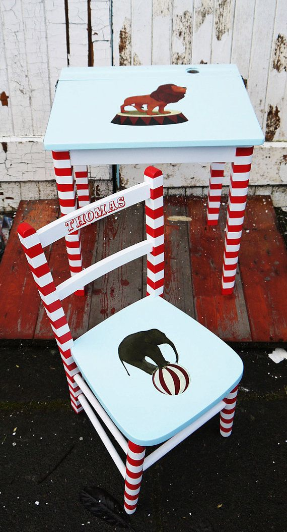 Upcycled vintage children's school desk and chair sets