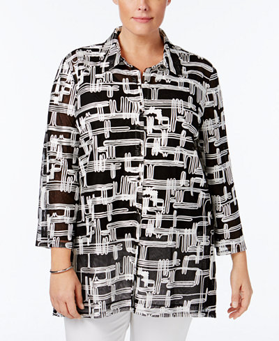 22.99$  Watch now - http://vildo.justgood.pw/vig/item.php?t=7kthmw26704 - JM Collection Plus Size Printed Mesh Jacket, Only at Macy's