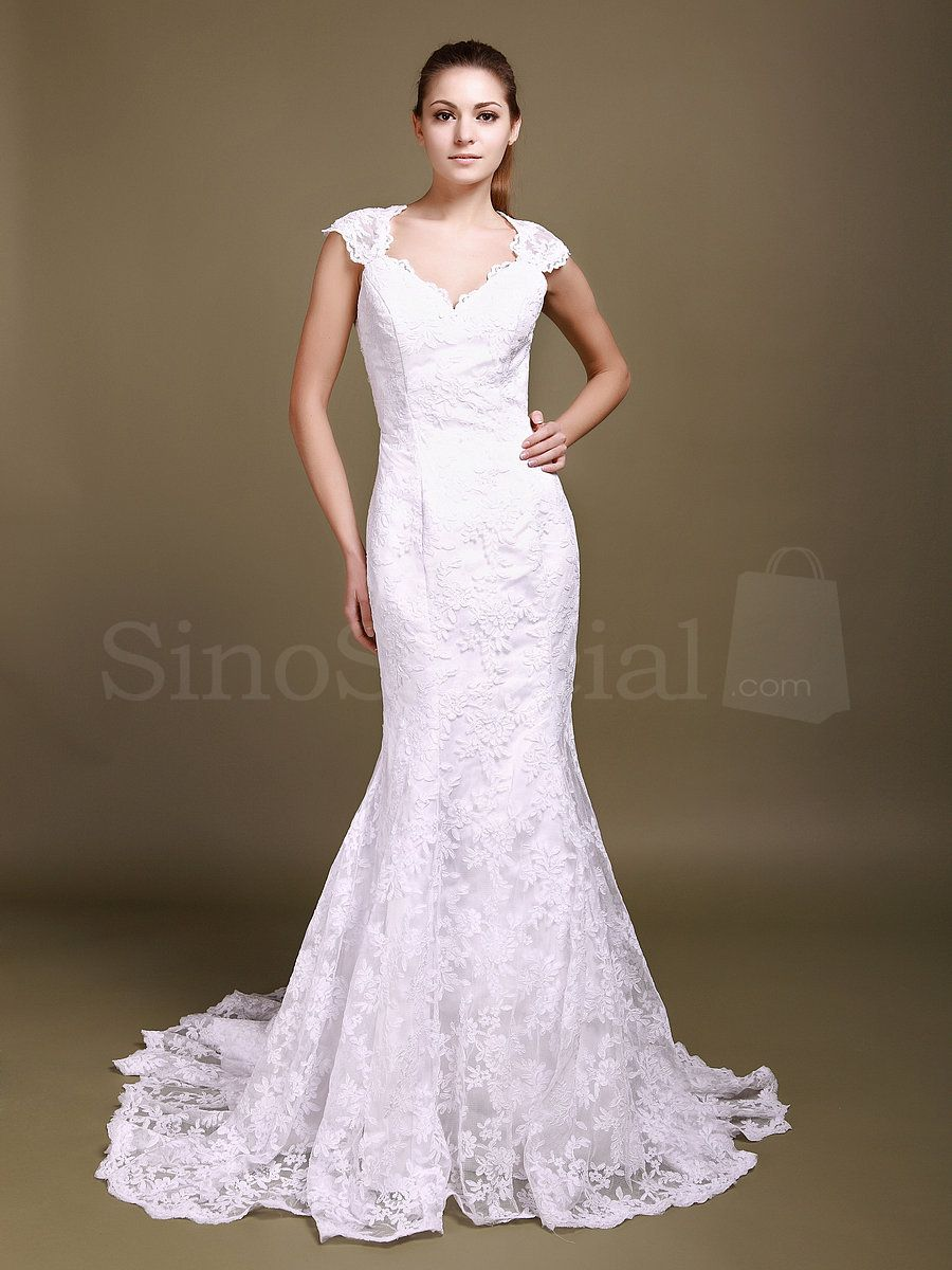 Fabulous white sheath lace wedding dress with capped sleeves
