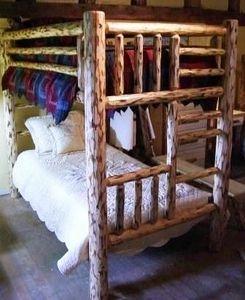 Pine Twin Over Twin Log Bunk Bed Log Bedroom Furniture Log Bunk Beds Bunk Beds