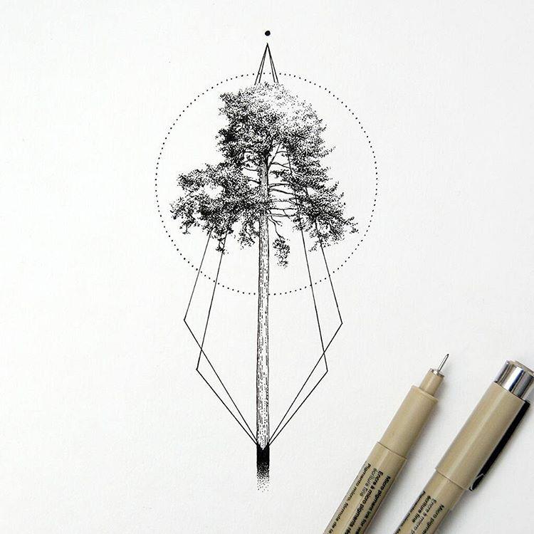 New Stuff Tree Treetattoo Nature Black Drawing Dots Illustration Geometric Tattoo Tree Geometric Trees Tree Tattoo Designs