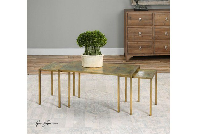 Pierre Nesting Coffee Tables, Gold Leaf