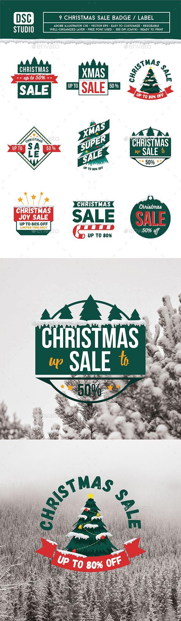 9 Christmas Sale Badge / Label | Ai illustrator, Label templates and ...