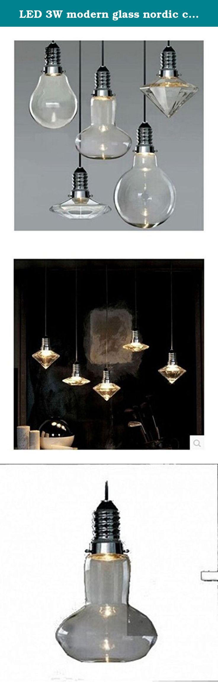 LED 3W modern glass nordic creative bar counter pendant lamp light.  Material:Glass Size