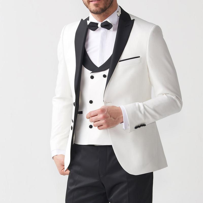 Three Piece Groom Tuxedos for Wedding Evening Party Men