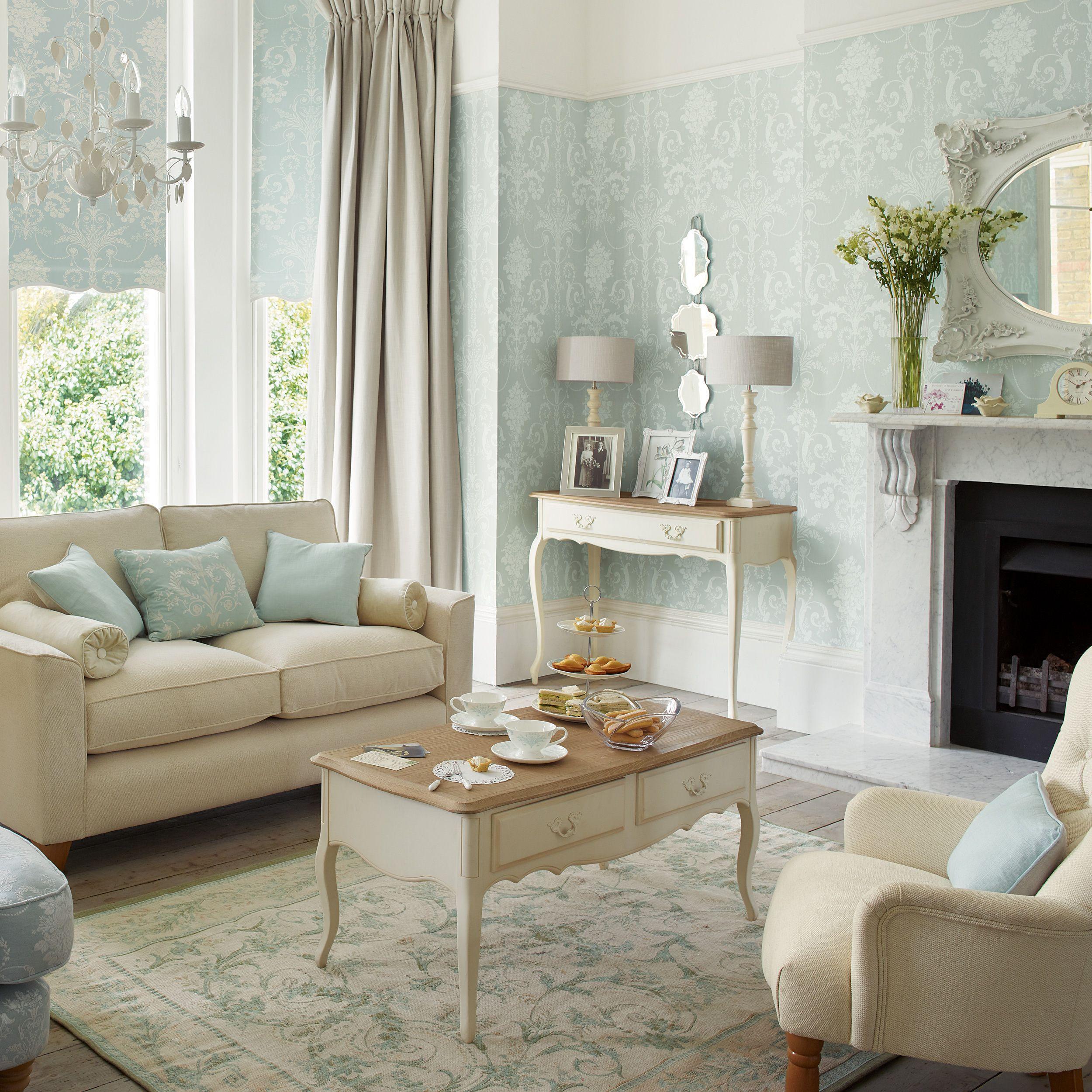 Josette duck egg wallpaper walls master pinterest muebles salon sal n y sala de estar - Muebles laura ashley ...