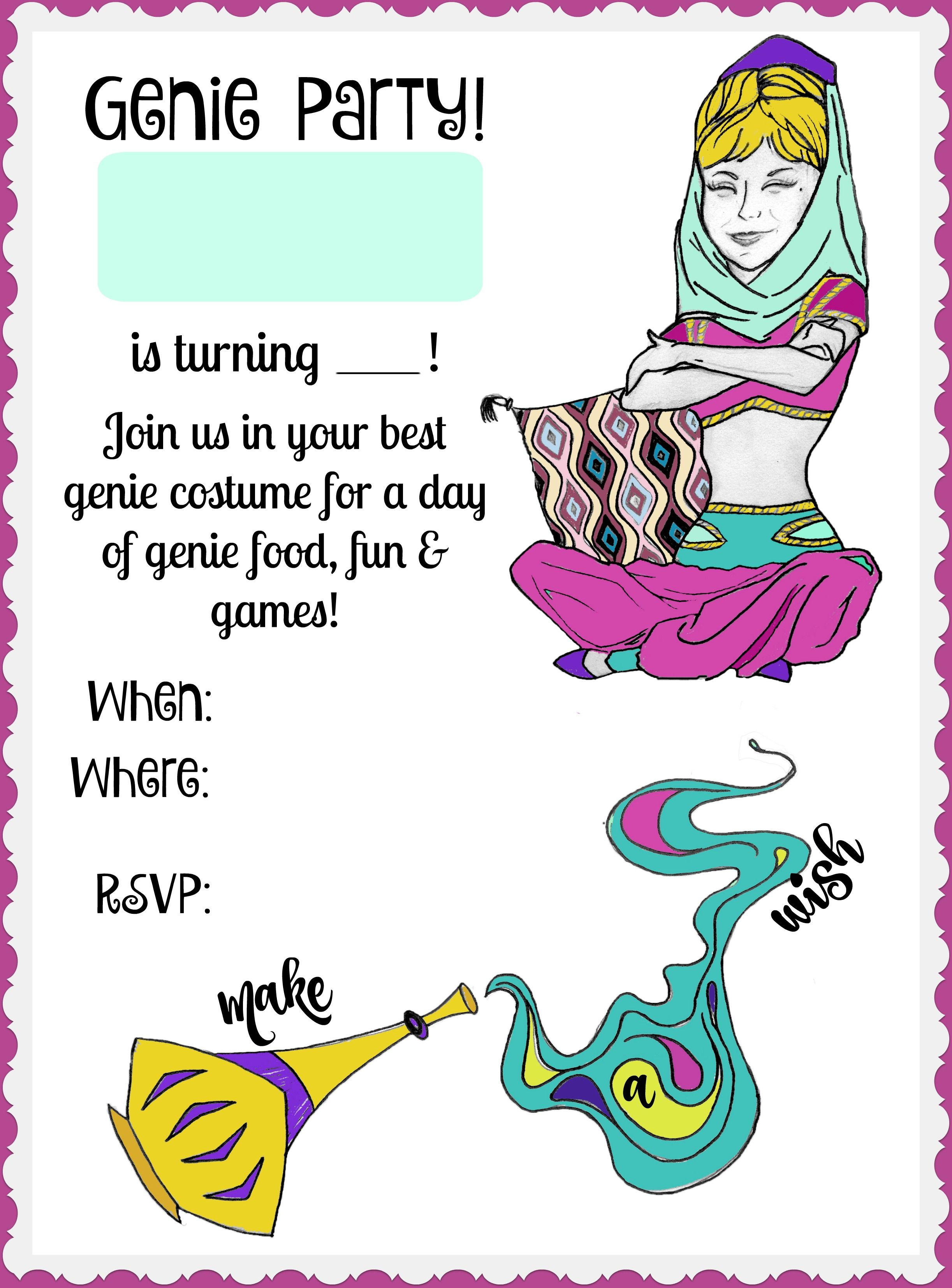 FREE printable party invitation for your girl\'s genie birthday! <3 ...