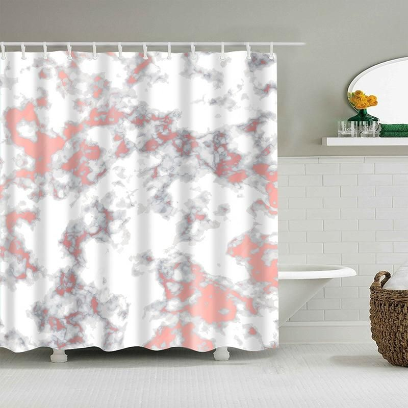 Pink Marble Shower Curtain With Images Pink Shower Curtains Patterned Shower Curtain Shower Curtain Decor