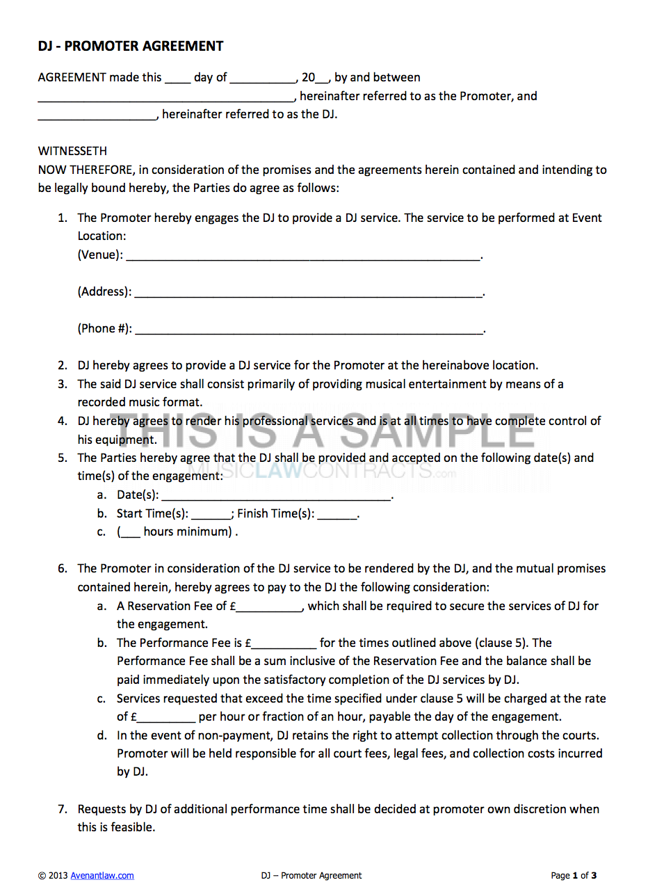 DJ Promoter Contract Letter templates free, Event