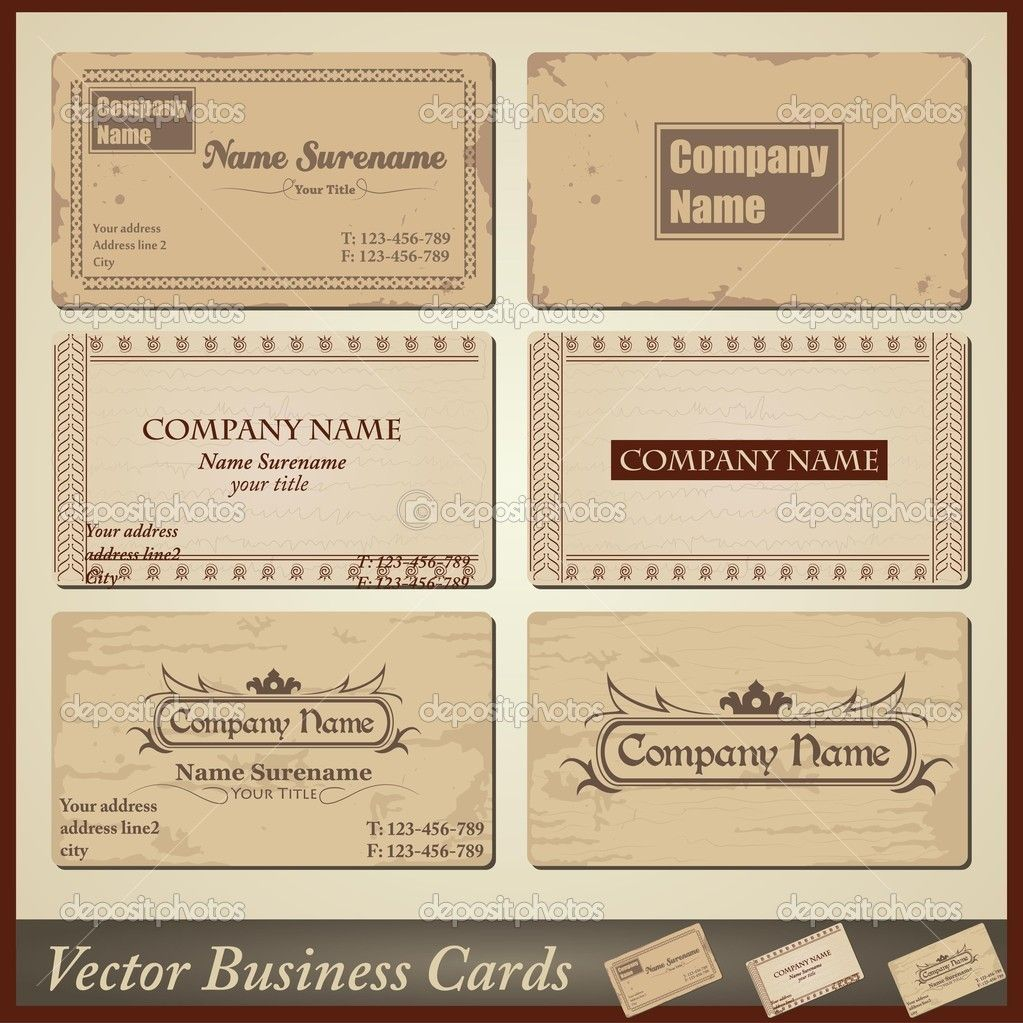 Vector Old Style Retro Vintage Business Cards Both Front And Back Side Vintage Business Cards Template Vintage Business Cards Retro Business Card