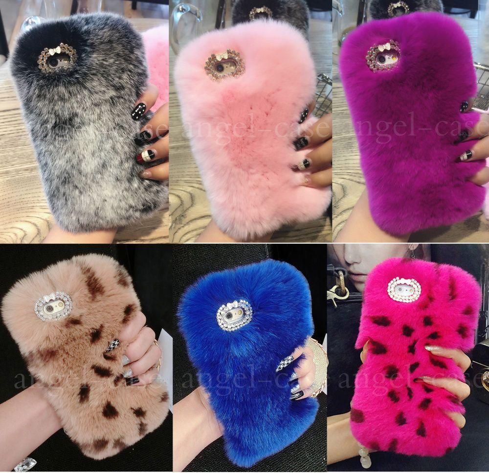 Details about girls luxury fluffy plush rabbit fur case
