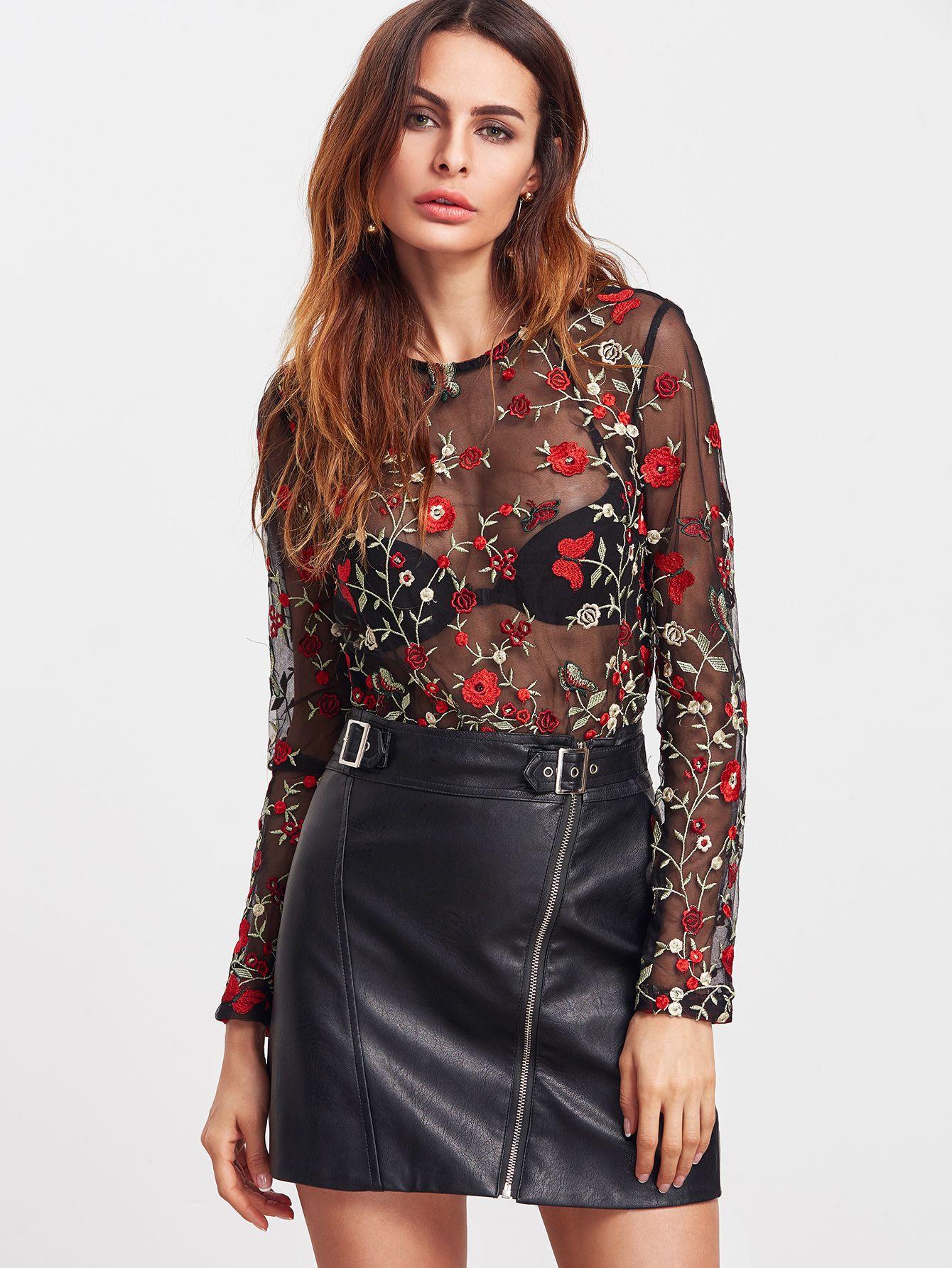 71e7d1bef72ba Shop Black Flower Embroidered Sheer Mesh Bodysuit online. SheIn offers Black  Flower Embroidered Sheer Mesh Bodysuit   more to fit your fashionable needs.
