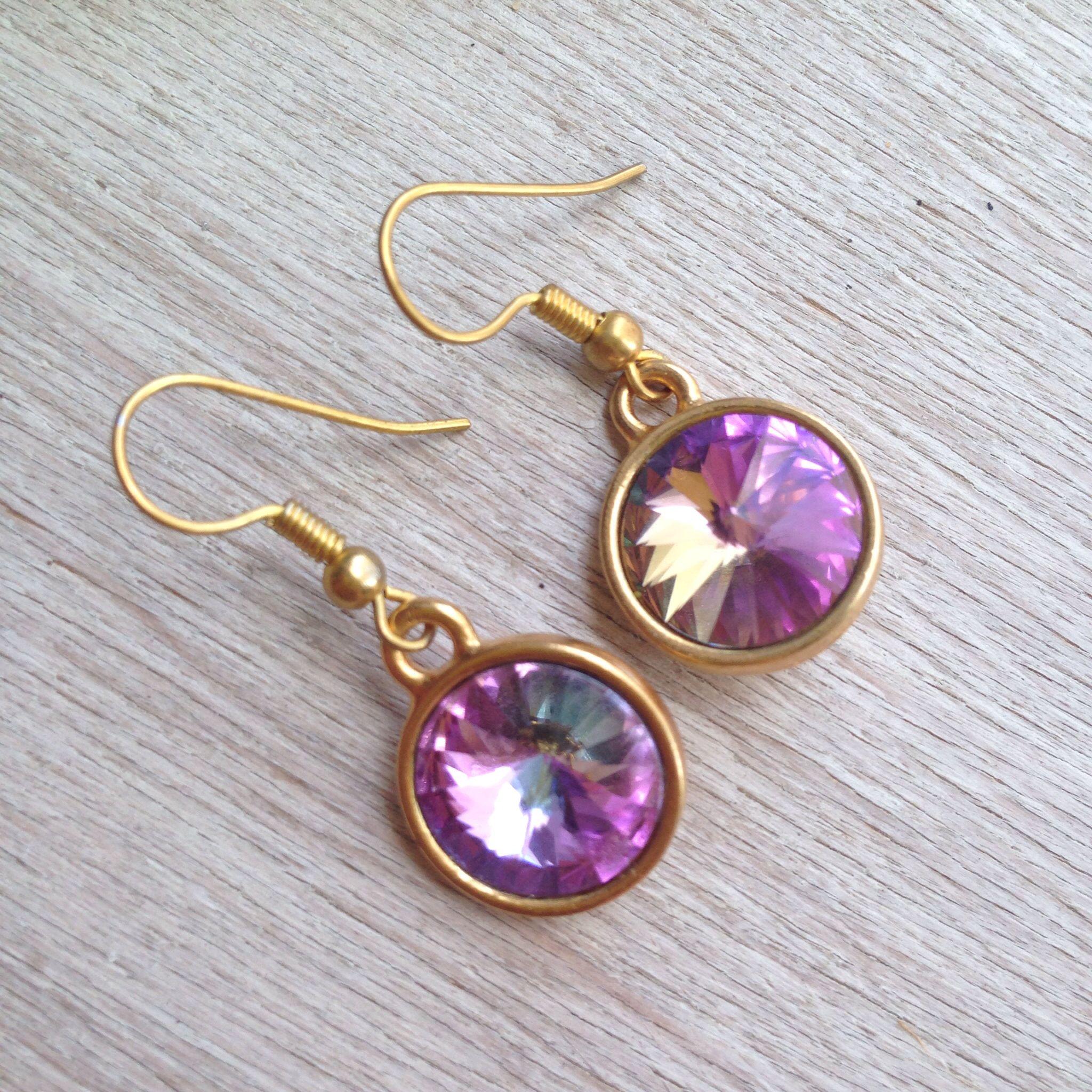 Earrings with Rivoli crystals