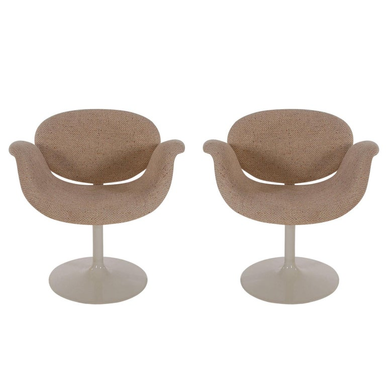 Pair Of Mid Century Modern Swivel Tulip Lounge Chairs By Pierre
