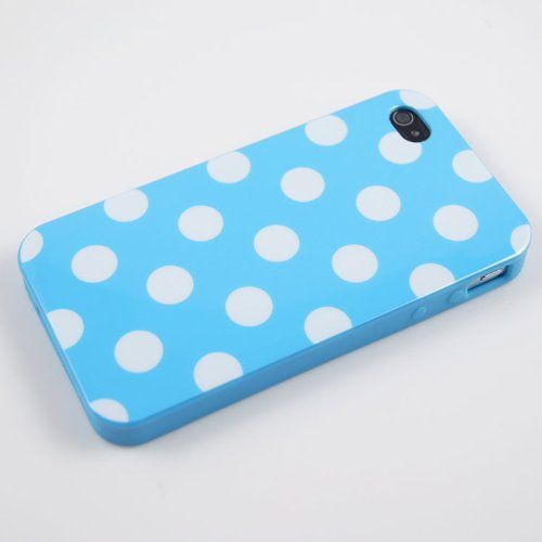 Baby Blue Polka Dot Flex Gel Case for Iphone 4  4S