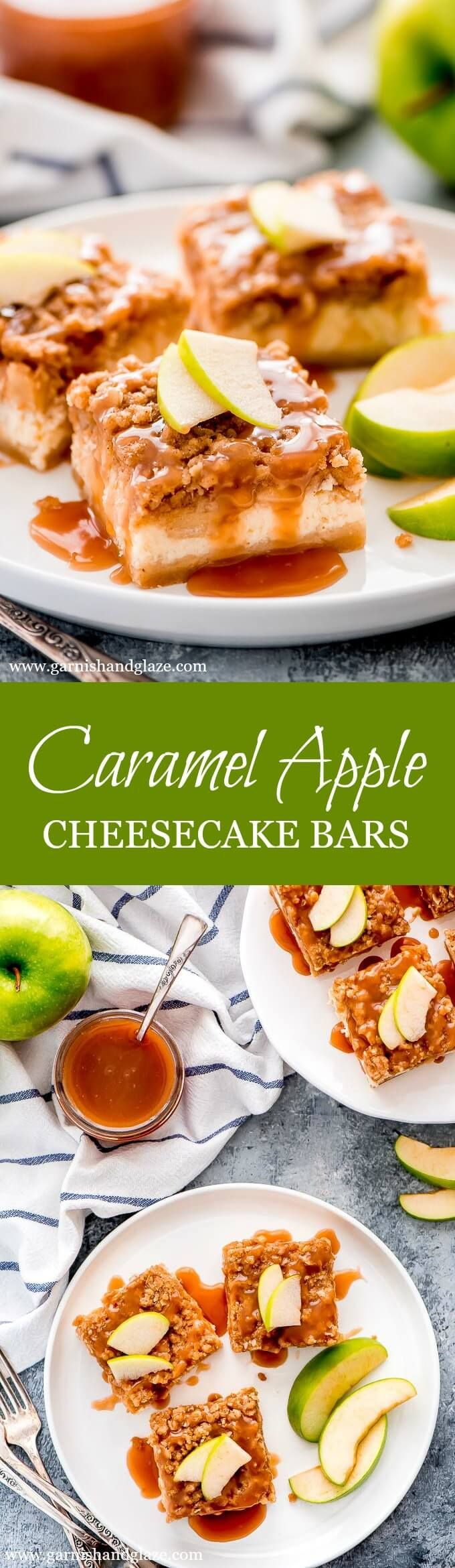 Caramel Apple Cheesecake Bars - Garnish & Glaze