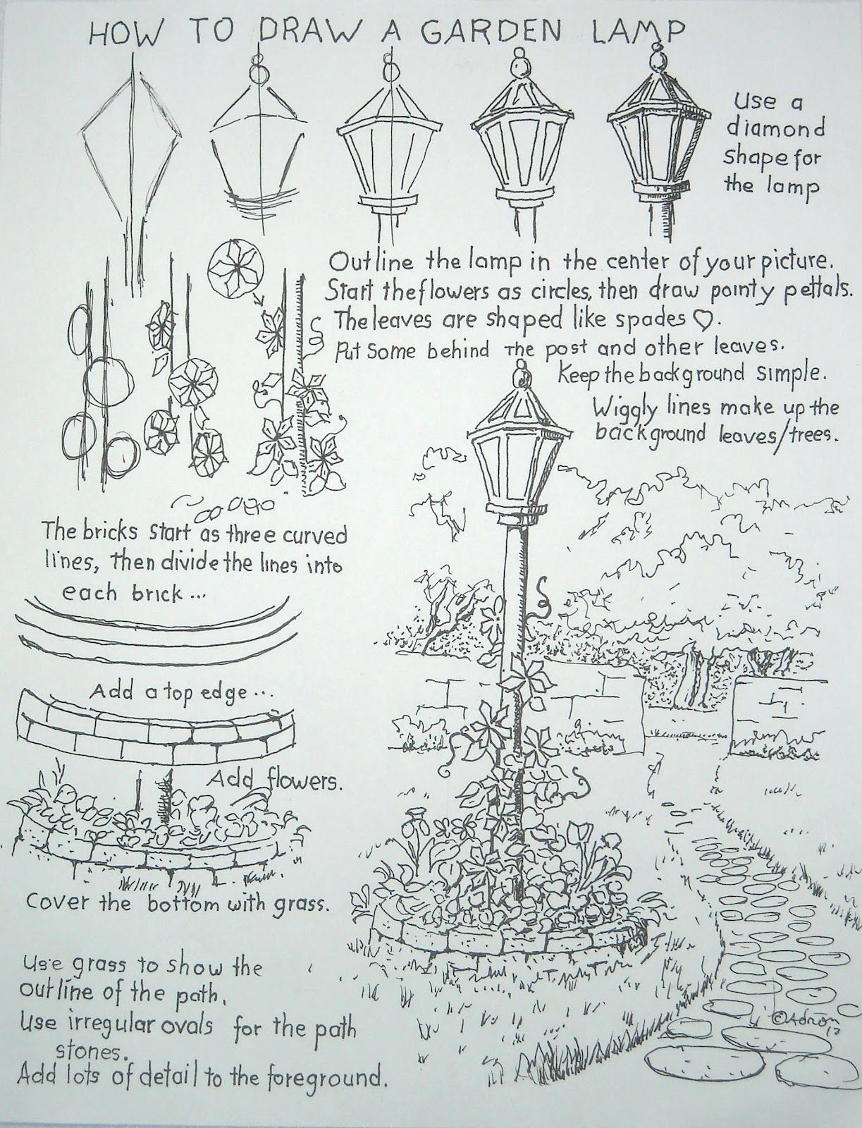 How To Draw A Lamp Post