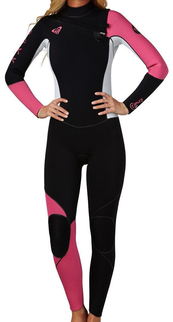 640a5e3a90 Roxy Woman s Cypher Wetsuit 4 3mm Full Chest Zip Wetsuit - Black Pink