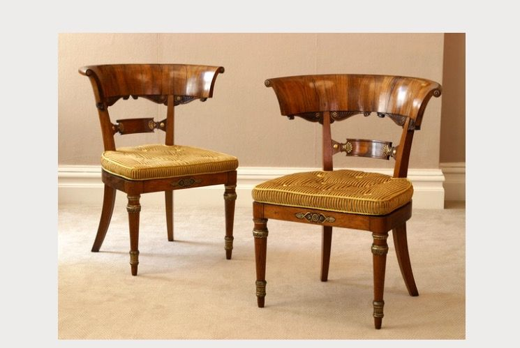 Antique Pair Of Regency Rosewood Klismos Library Chairs; England, c. 1815  Provenance Private - Antique Pair Of Regency Rosewood Klismos Library Chairs; England, C