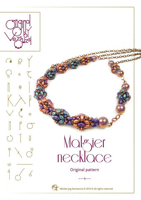Beading tutorial / pattern Malgier necklace by beadsbyvezsuzsi