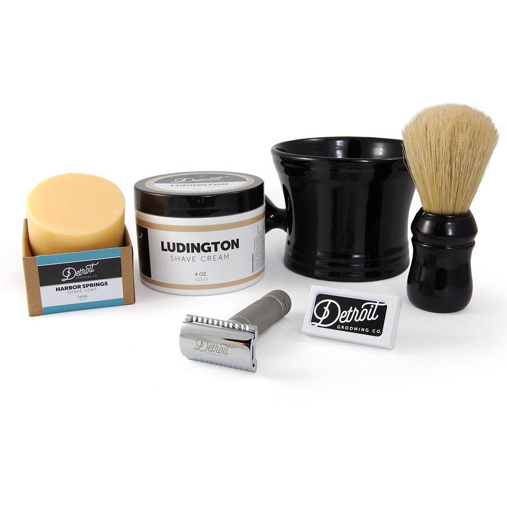 The Home Pro Shave Set Includes:      Fatty Safety Razor     10 Pack Blades     Ludington Shave Cream 4oz     Shave Soap (3.8oz)     Shaving Mug, Apothecary Style, Black Porcelain     Omega hog bristle shaving brush, ABS handle, Black