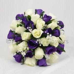 WEDDING FLOWERS BRIDES POSY PURPLE CREAM IVORY Amazonco