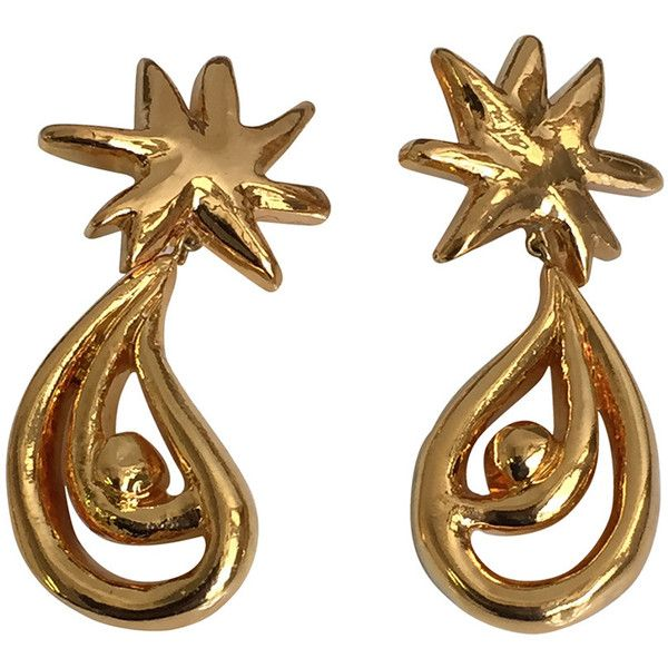Preowned Christian Lacroix 80s Gold Clip On Earrings. ($250) ❤ liked on Polyvore featuring jewelry, earrings, multiple, clip earrings, 80s jewelry, 80s earrings, long clip on earrings and clip back earrings
