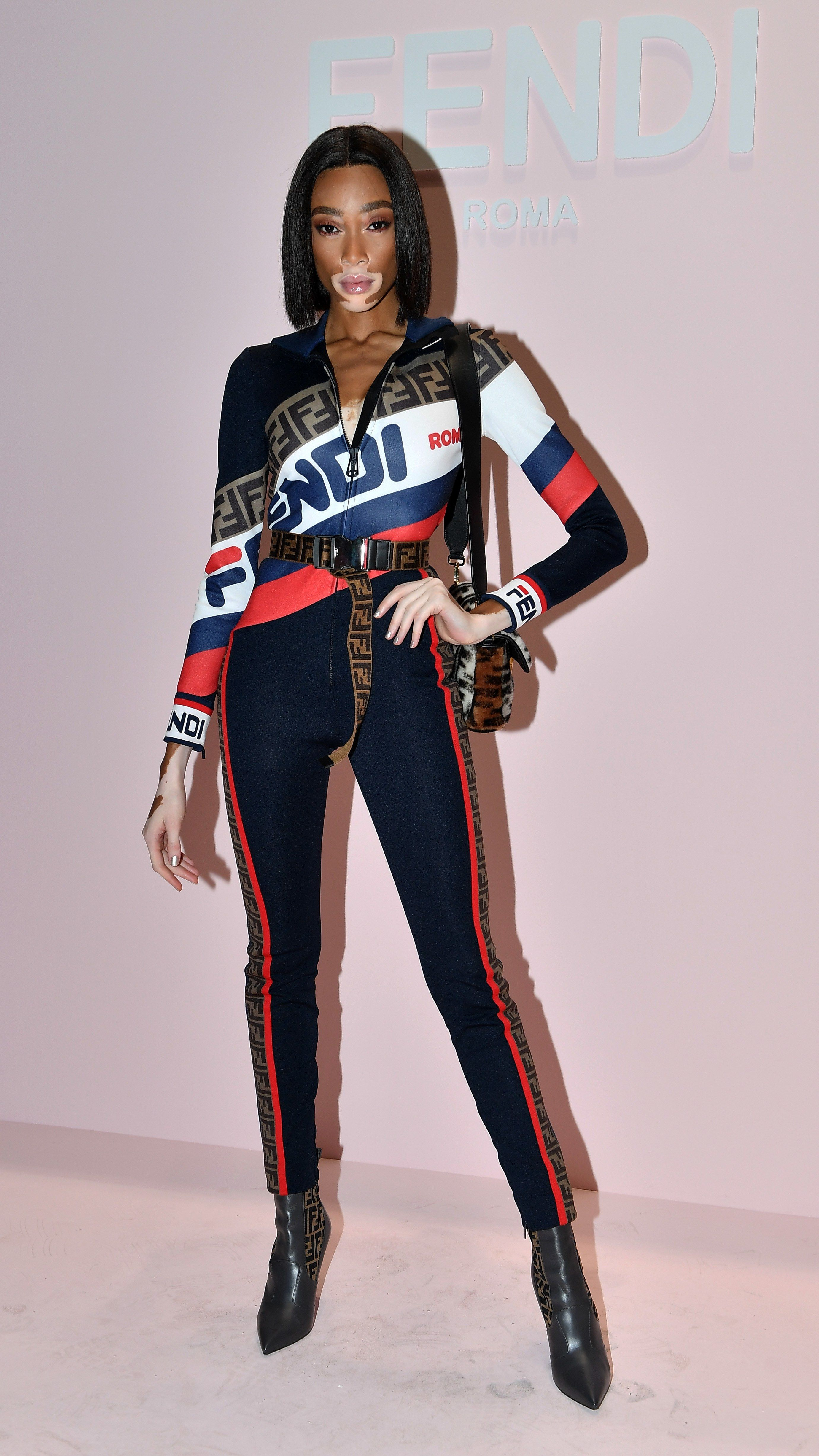 3e113a9c215 Winnie Harlow attends the Fendi show during Milan Fashion Week Spring Summer  2019 on September 20
