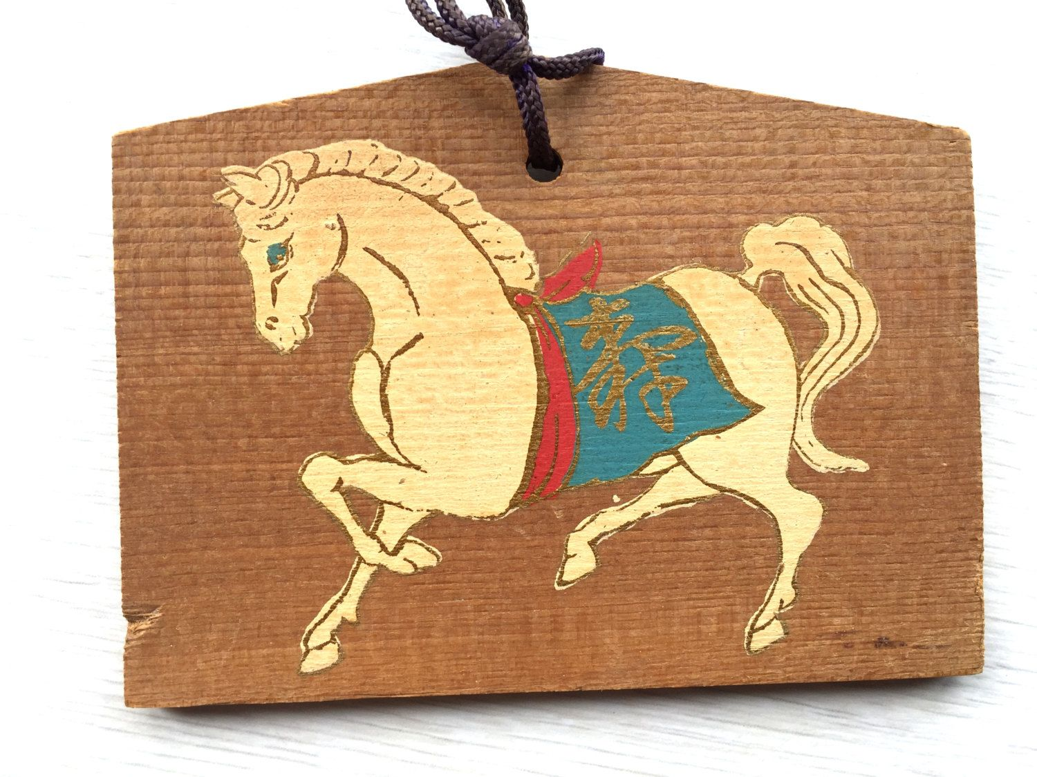 Japanese Wood Plaque - EMA - Horse - Koshoji Temple - Japan E4-43 by VintageFromJapan on Etsy