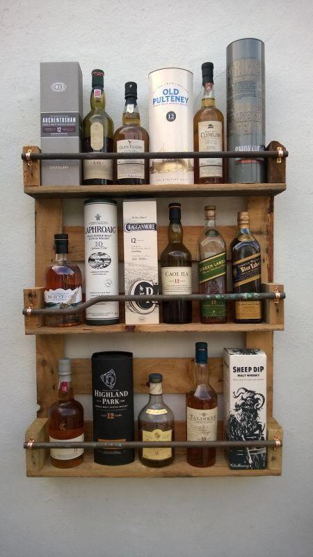 Whisky Rack Shelf, Upcycled Pallet / Crate Handmade Vintage