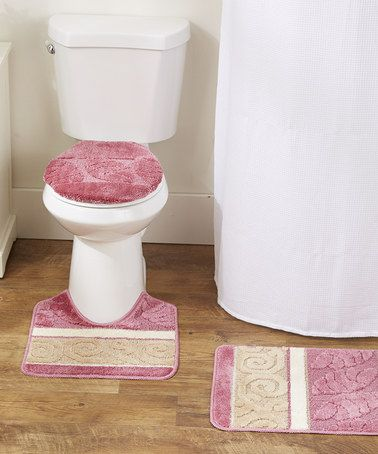 Another Great Find On Zulily Pink Scroll Three Piece Bathroom Rug Set Zulilyfinds Bathroom Rug Sets Bathroom Rugs Rug Sets