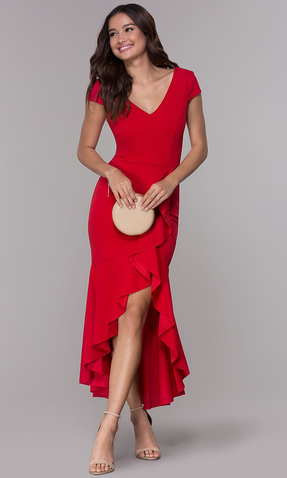 Highlow wedding guest vneck dress with ruffles red