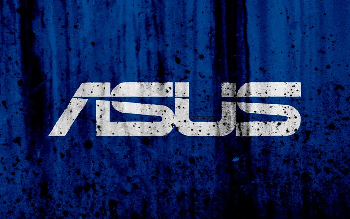 Scarica Sfondi Asus Logo 4k Creativo Grunge Sfondo Blu Logo