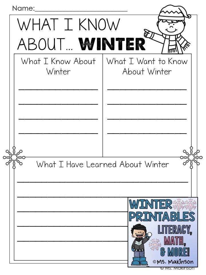 Winter Printables - Literacy, Math, \ Science Literacy - kwl chart