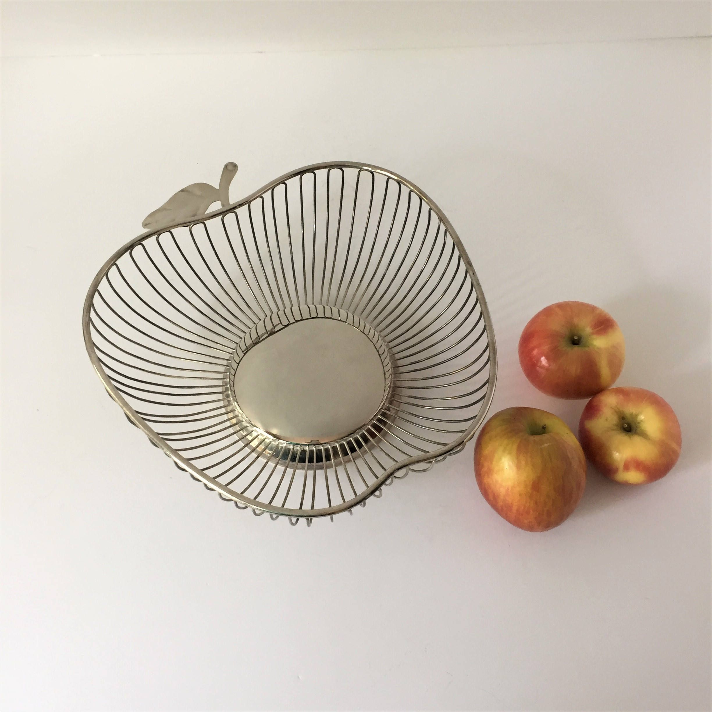 Modern Metal Fruit Bowl Plated Wire Basket Vintage Apple Shaped Bowl Silver Plated Fruit