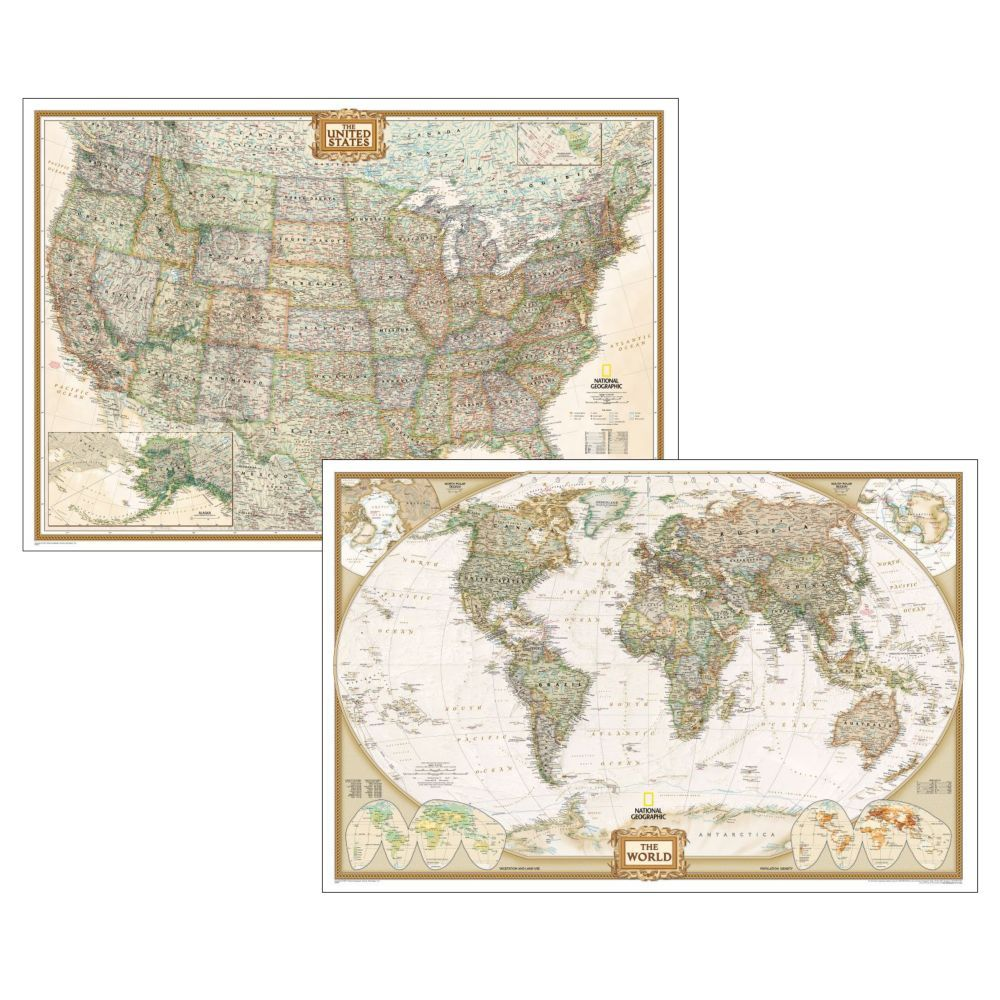 Poster sized world and us combination map set earth toned poster sized world and us combination map set earth toned gumiabroncs Gallery