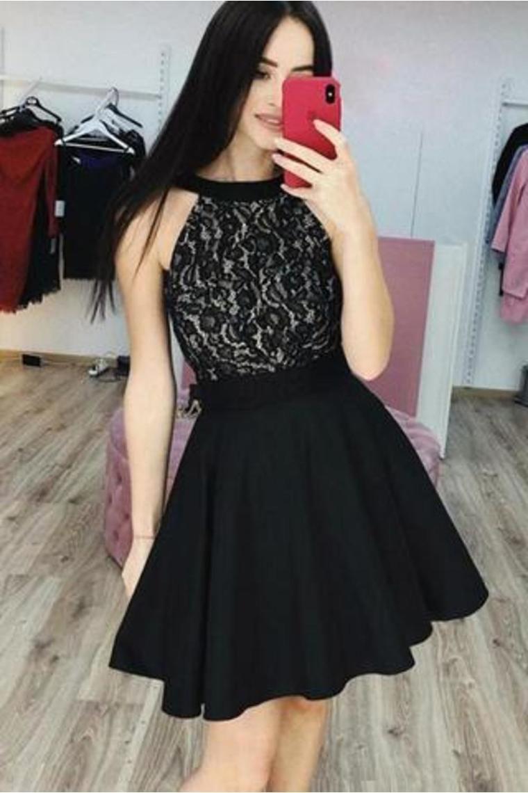 Vestidos de fiesta negros de encaje y gasa, un vestido de fiesta corto sin mangas de una línea US$ 118.00 VEPFPGHJ6D