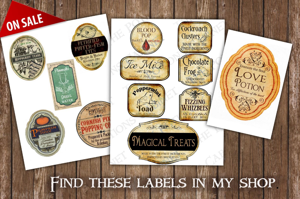 Perfect for Witches /& Wizards Halloween Potion Bottle Labels
