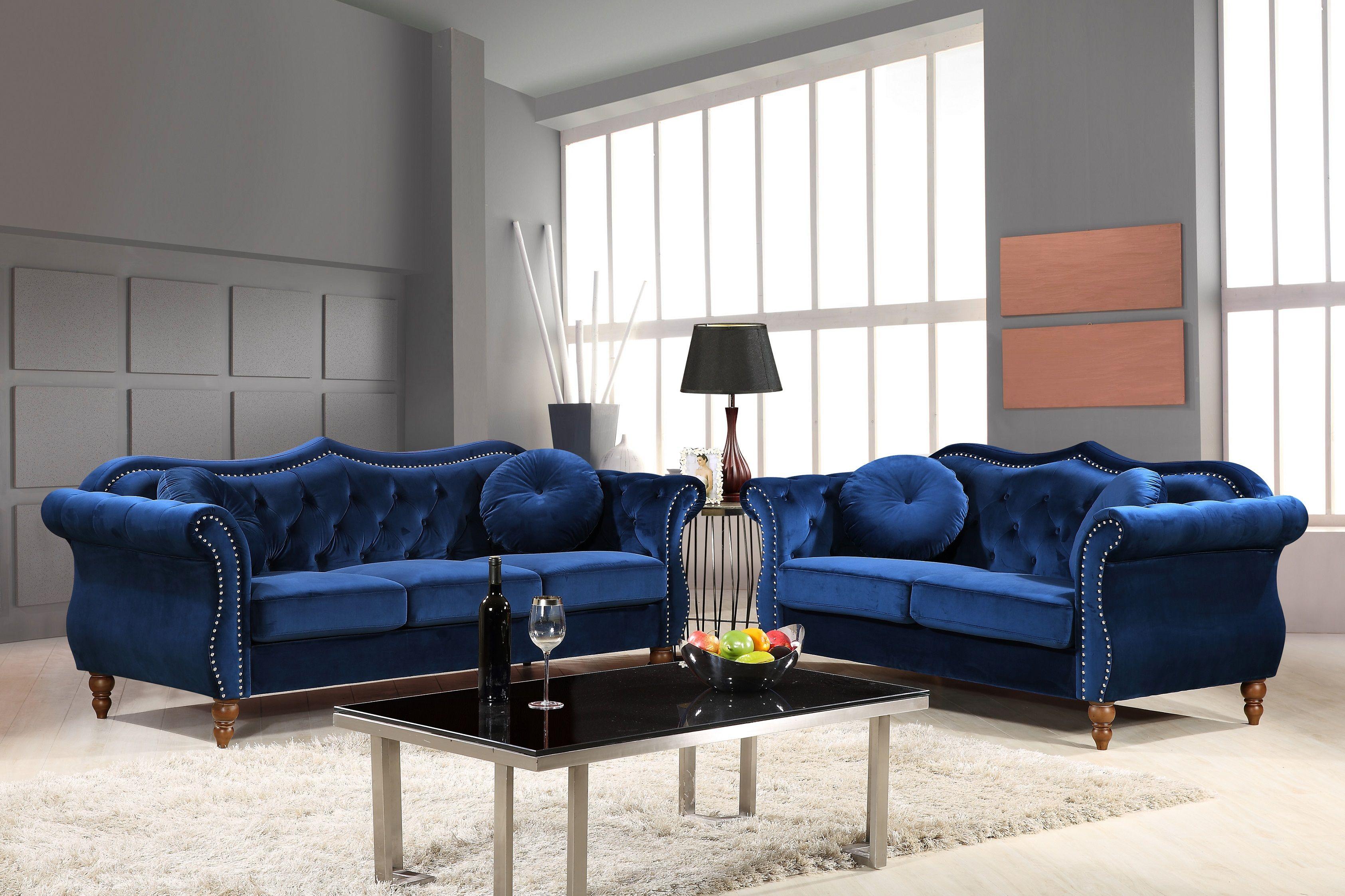 Us Pride Furniture Carbon Classic Nail Head Chesterfield 2 Piece Living Room Set Blue Walmart Com In 2021 Living Room Sofa Set Blue Living Room Sets Blue Sofa Living