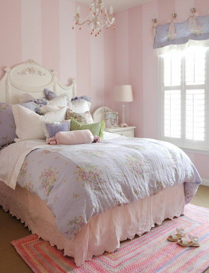 amenagement chambre ado en rose tapis color en rose papier peint chambre ado
