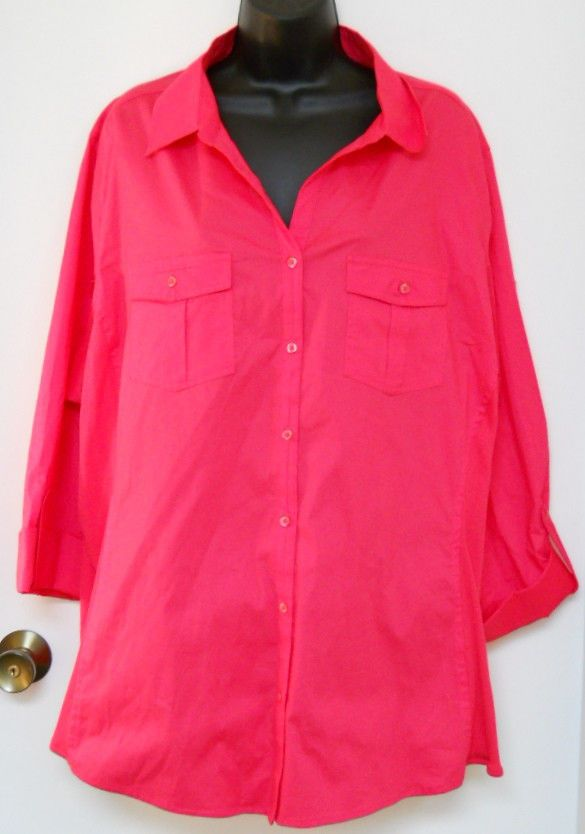 89162184d0526 NEW 4X Just My Size HOT Pink Blouse Cotton   Knit Sides Raspberry Tart  Color  JustMySize  ButtonDownShirt